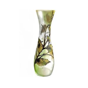 Victoria Bella 10253/500/ALG 20'' Height Glass Vase. Pattern: Leaf Abstract Green Background