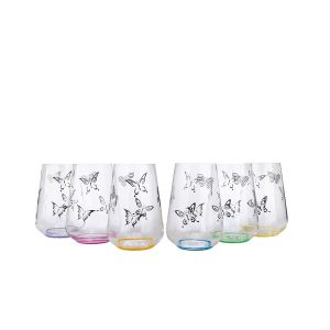 Crystalex 23013/380/S1432 12 Oz Sandra Butterfly Rock Assorted Color Glass, 6/SET