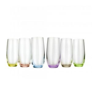 Crystalex 25180-350-X 12 Oz Club Rainbow Cocktail Assorted Color Glass, 6/SET
