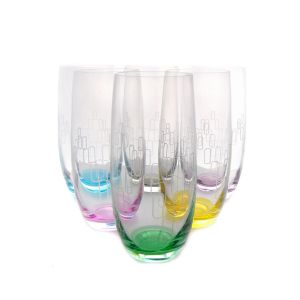 Crystalex 25180-350V 12 Oz Club Rainbow Cocktail Assorted Color Engraved Glass, 6/SET