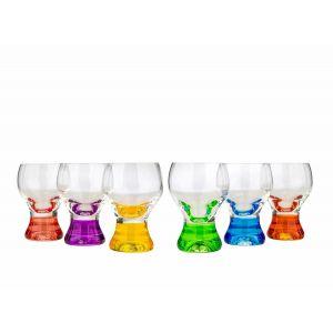 Crystalex 40159/60C 2 Oz Gina Rainbow Assorted Color Shot Glass, 6/SET