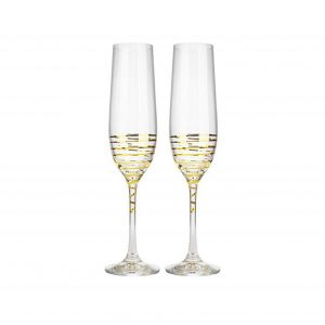 Crystalex 40729/190/M8441 6 Oz Viola Gold Spiral Flute Glass, 2/SET
