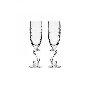 Neman Crystal 10 Oz. Lead Crystal Goblet Glass ''Snake''. Set of 2