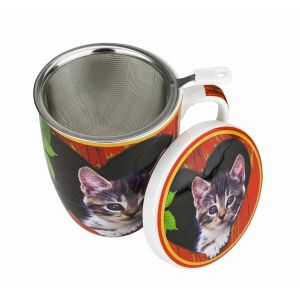 Carmani CR-017-2503 14 Oz Cats Mug With Lid and Infuser, EA
