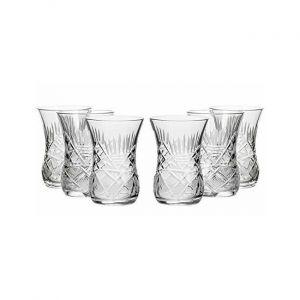 Neman GS8845121, 5 Oz Crystal Cut Turkish Tea Glasses, Vintage Old-Fashioned Tea Cups, Set of 6