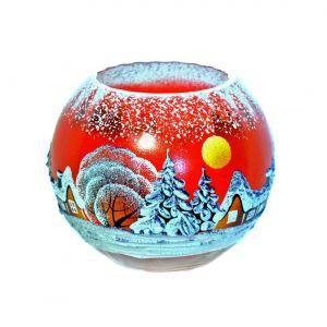 Victoria Bella 5578/180/RW 7'' Height Glass Vase. Pattern: Red Winter