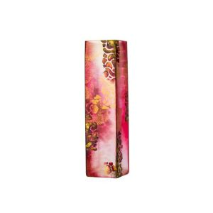 Victoria Bella 6360/400/APB 16'' Height Glass Vase. Pattern: Dark Red with Potal Abstract
