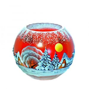 Victoria Bella 6401/140/RW 4'' Height Glass Vase. Pattern: Red Winter