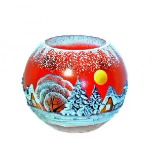 Victoria Bella 6429/220/RW 7'' Height Glass Vase. Pattern: Red Winter