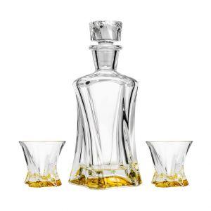 Aurum Crystal AU52095 3-Piece 1 Decanter + 2 Glasses Amber Crystal Whiskey Set