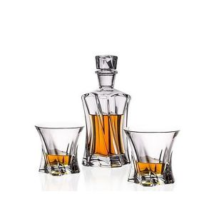 Aurum Crystal AU52063 3-Piece 1 Decanter + 2 Glasses Cooper Crystal Whiskey Decanter Set