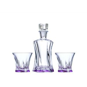 Aurum Crystal AU52096 3-Piece 1 Decanter + 2 Glasses Cooper Amethyst Crystal Whiskey Decanter Set