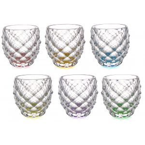 Aurum Crystal AU52301 11 Oz Morris Sprayed Multicolor Whiskey Tumblers, 6/SET