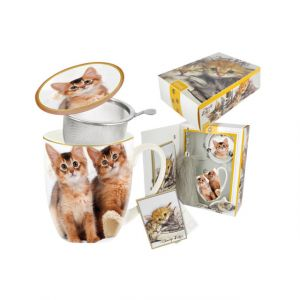Carmani CR-017-2502 14 Oz Cats Mug With Lid and Infuser, EA