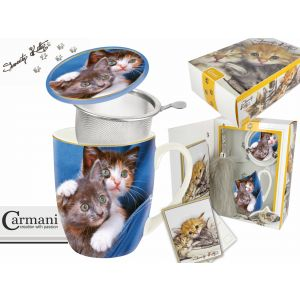 Carmani CR-017-2501 14 Oz Cats Mug With Lid and Infuser, EA