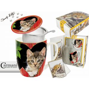 Carmani CR-017-2503 14 Oz Cats Mug With Lid and Infuser, EA