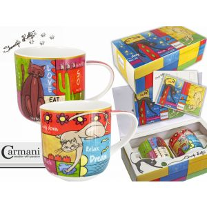 Carmani CR-017-2505 18 Oz Cats Mug, 2/SET
