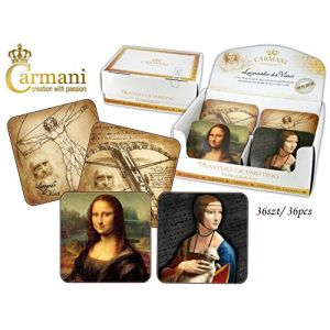 Carmani CR-032-0500 Leonardo Da Vinci Mug Coaster, 36/SET