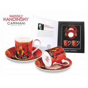 Carmani CR-046-0103, 4 Oz Espresso Cup with Saucer Set For Souvenir Decorated with 1929 Painting With And Against by Wassily Kandinsky, Set of 2