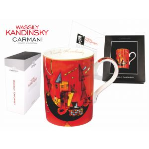 Carmani CR-046-0203, 13 Oz Fancy Porcelain Tea & Coffee Mug for Souvenir with 1929 Painting With and Against by Wassily Kandinsky, EA