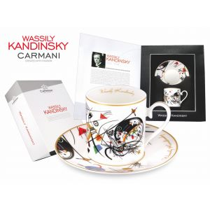 Carmani CR-046-0304, 8 Oz Cup and Saucer Set Painting Transverse line (1923) by Wassily Kandinsky, Set of 2