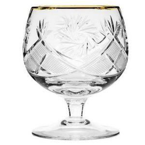 Neman Crystal 10 Oz. Lead Crystal Brandy Glass with Gold Rim. Set of 6