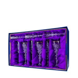 Neman Crystal GS8159G 18 pc. Lead Crystal Gift Set. Gold Jubilee.