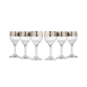 Crystal Goose GX-08-134 2 Oz Sherry Liquor Glasses with Bronze-Plated Trim, 6-Piece Set