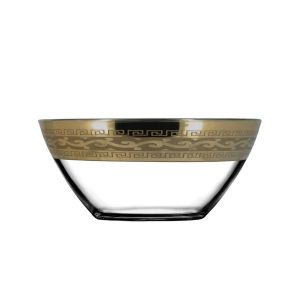 Crystal Goose GX-08-1425 Crystal Salad Bowl with Bronze-Plated Trim, 2-Piece Set