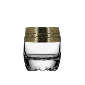 Crystal Goose GX-08-2244 2 Oz Shot Glasses with Bronze-Plated Rim, Set of 6