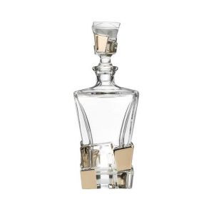 Bohemia JS19977 20 Oz. Lead Free Crystal Crack Decanter with Platinum