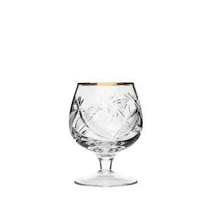 Neman Crystal 7 Oz. Lead Crystal Brandy Glass with Gold Rim. Set of 6